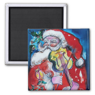 SANTA CLAUS WITH VIOLIN 2 INCH SQUARE MAGNET