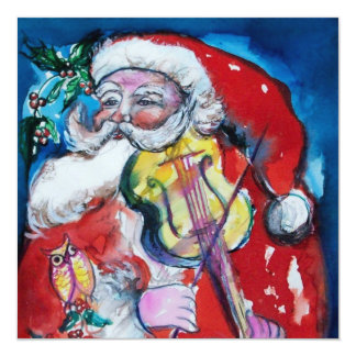 SANTA  CLAUS WITH VIOLIN - CHRISTMAS PARTY CARD