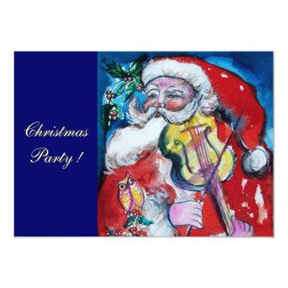 SANTA CLAUS WITH VIOLIN, CHRISTMAS PARTY CARD