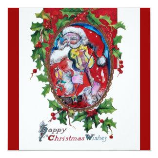 SANTA  CLAUS WITH VIOLIN - CHRISTMAS PARTY CARD