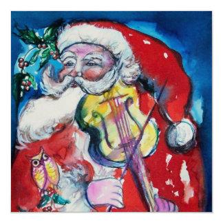 SANTA  CLAUS WITH VIOLIN - CHRISTMAS PARTY Gold Card