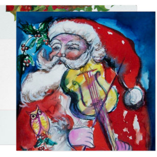 SANTA  CLAUS WITH VIOLIN - CHRISTMAS PARTY Silver Card