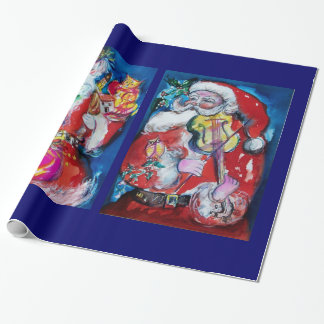 SANTA CLAUS WITH VIOLIN/CHRISTMAS TREE AND BALOONS WRAPPING PAPER