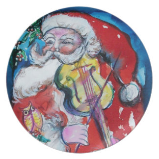 SANTA CLAUS WITH VIOLIN DINNER PLATE