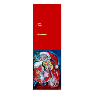 SANTA CLAUS WITH VIOLIN Double-Sided MINI BUSINESS CARDS (Pack OF 20)