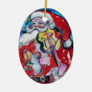 SANTA CLAUS WITH VIOLIN,MUSICAL CHRISTMAS Red Ruby Ceramic Ornament