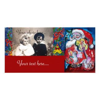 SANTA CLAUS WITH VIOLIN CUSTOM PHOTO CARD