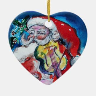 SANTA CLAUS WITH VIOLIN Red Ruby Heart Christmas Ornaments