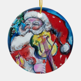 SANTA CLAUS WITH VIOLIN Red Ruby Ornaments