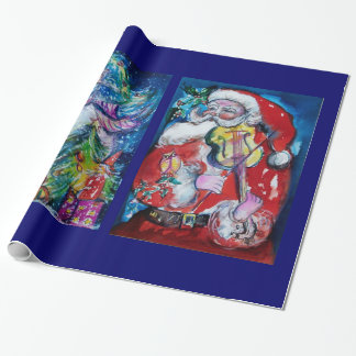 SANTA CLAUS WITH VIOLIN/ SNOWMAN AND XMAS TREE WRAPPING PAPER