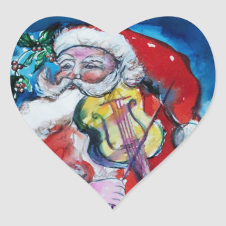 SANTA CLAUS WITH VIOLIN HEART STICKERS