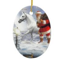 Santa Claus With White Horse Ceramic Ornament