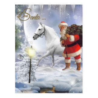 Santa Claus With White Horse Postcard
