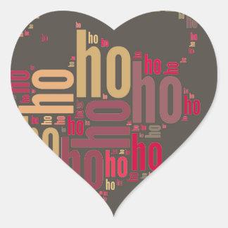 Santa Claus wordcloud Ho Ho Ho Heart Sticker