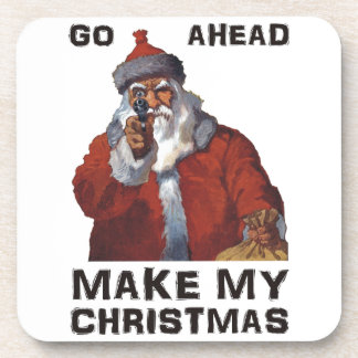 Santa Clause aiming gun - Make My Funny Christmas Coaster