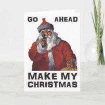 Santa Clause aiming gun - Make My Funny Christmas Holiday Card