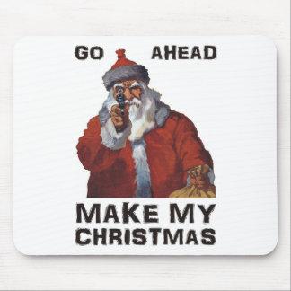 Santa Clause aiming gun - Make My Funny Christmas Mouse Pad