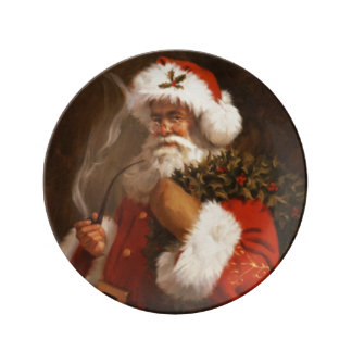 Santa Clause and his Pipe Vintage Porcelin Plate