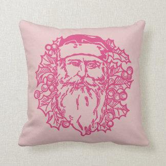 Santa Clause And Holly Bough Throw Pillow