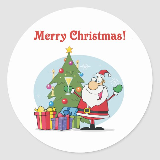 Santa Clause and presents christmas holiday Classic Round Sticker