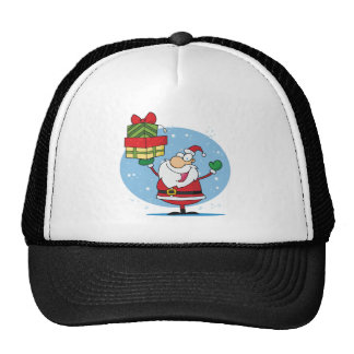 Santa Clause and presents christmas holiday Trucker Hat