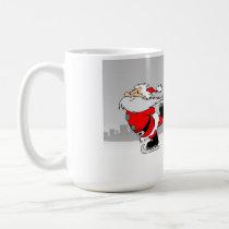 Santa Clause and Rudolph Ice Skating Christmas Mug
