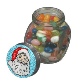 Santa Clause Christmas Jelly Bean Candy Gift Jar Glass Candy Jar