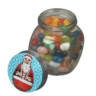 Santa Clause Christmas Jelly Bean Candy Gift Jar Glass Candy Jars