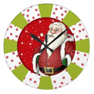Santa Clause Christmas Round (Large) Wall Clock