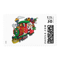 Santa Clause coming to town on his Locomotive Postage