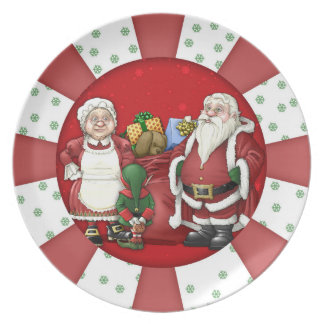 Santa Clause Elf Mrs Clause Holiday Melamine Plate