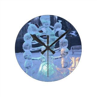 Santa Clause Faces Funny Christmas Holiday Round Clocks