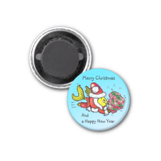 santa Clause Fish - funny cute Christmas cartoon 1 Inch Round Magnet