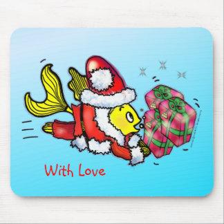 Santa Clause Fish - funny cute Christmas cartoon Mouse Pad