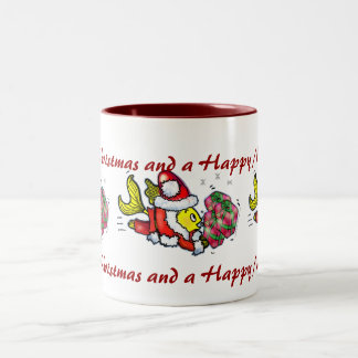 Santa Clause Fish - funny cute Christmas cartoon Two-Tone Coffee Mug
