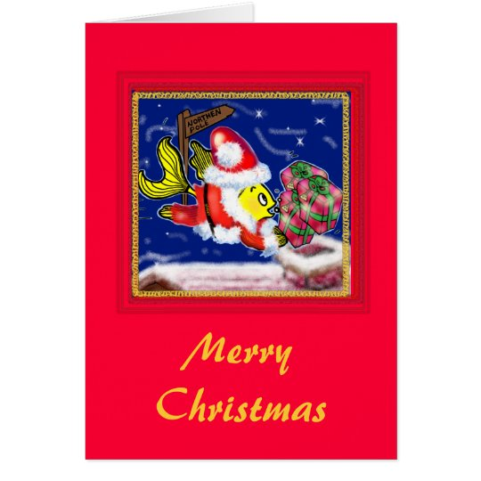 Santa Clause Fish - funny cute Christmas comics Card