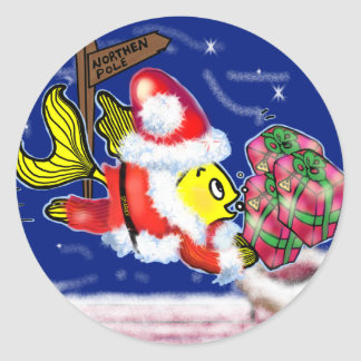 Santa Clause Fish - funny cute Christmas comics Classic Round Sticker