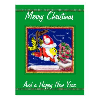 Santa Clause Fish - funny cute Christmas comics Postcard