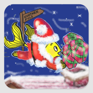 Santa Clause Fish - funny cute Christmas comics Square Sticker