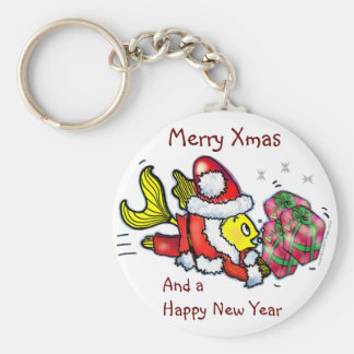 santa Clause Fish - funny cute Christmas Keychain