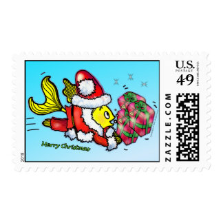 SANTA CLAUSE FISH funny cute Christmas US Postage