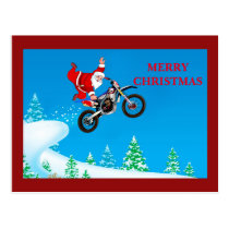 Santa clause flying high and doing a one hand grab postcard