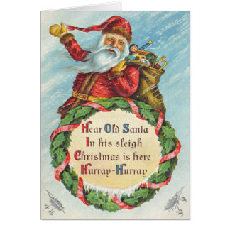 Santa Clause Hip-Hip Hurray Christmas Card