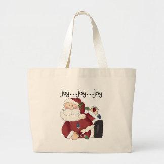 Santa Clause Holiday Joy T-shirts and gifts Large Tote Bag