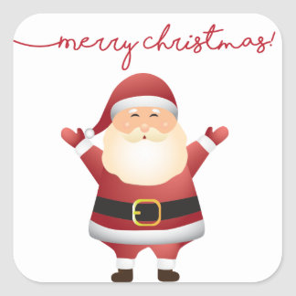 Santa Clause Holiday Stickers with Merry Christmas