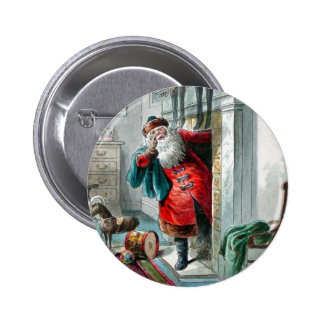 Santa Clause In the Chimney 2 Inch Round Button