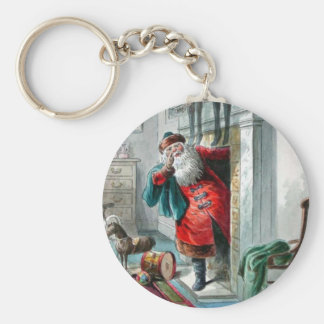 Santa Clause In the Chimney Basic Round Button Keychain