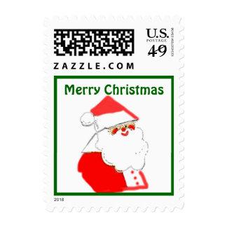 Santa Clause Merry Christmas Greetings Stamp