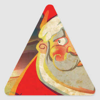 Santa Clause Merry Christmas Triangle Sticker