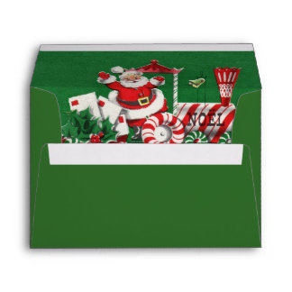Santa Clause on Peppermint Candy Christmas Train Envelope
